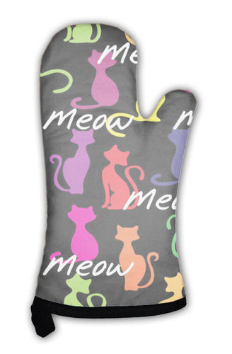 Oven Mitt, With Colorful Cats-Oven Mitt-Bella's PetStor