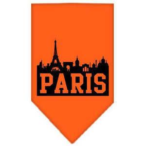 Paris Skyline Screen Print Bandana Orange Large-Paris skyline screen print bandana new pet products-Bella's PetStor