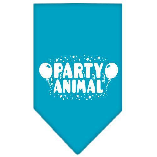 Party Animal Screen Print Bandana Turquoise Large-Party animal screen print bandana new pet products-Bella's PetStor