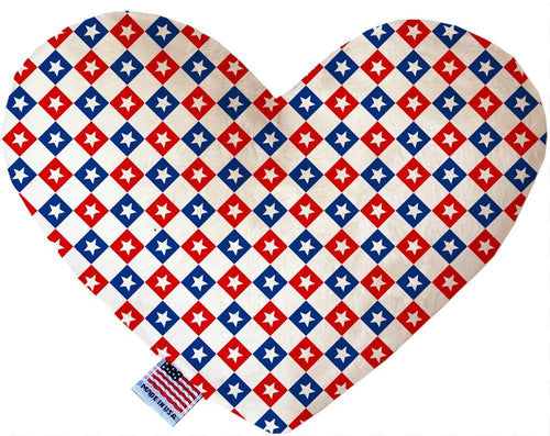 Patriotic Checkered Stars Inch Canvas Heart Dog Toy-Made in the USA-Bella's PetStor