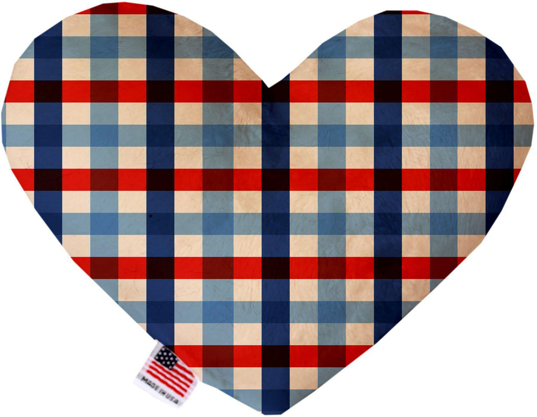 Patriotic Plaid Inch Heart Dog Toy-New-Bella's PetStor