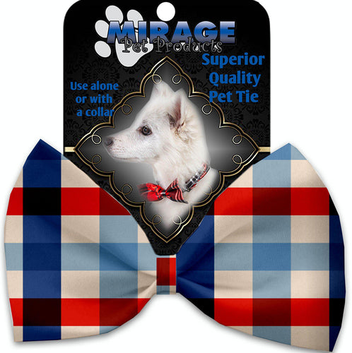 Patriotic Plaid Pet Bow Tie Collar Accessory With Velcro-Bow Ties-Bella's PetStor