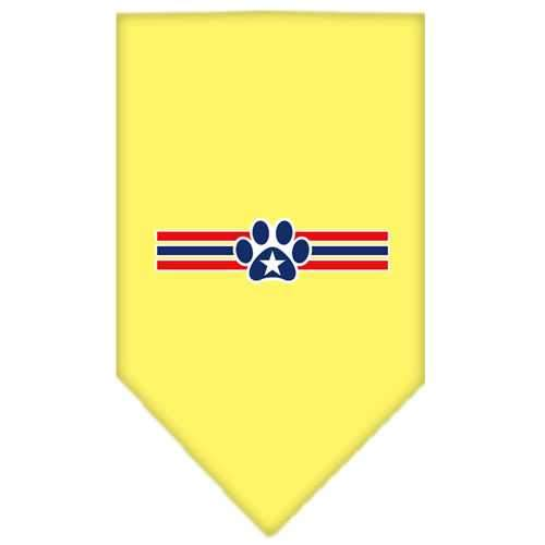 Patriotic Star Paw Screen Print Bandana Yellow Small-patriotic star paw screen print bandana patriotic pet supplies-Bella's PetStor