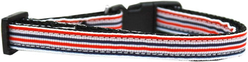 Patriotic Stripes Nylon Ribbon Cat Safety Collar-Dog Collars-Bella's PetStor