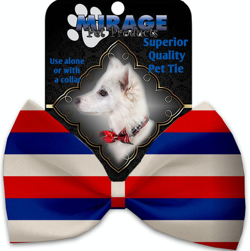 Patriotic Stripes Pet Bow Tie Collar Accessory With Velcro-Bow Ties-Bella's PetStor