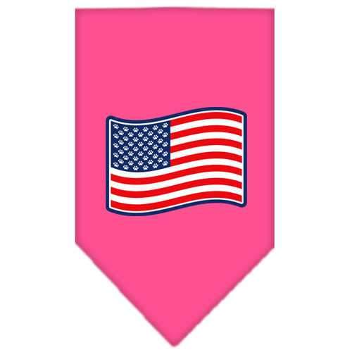 Paws and Stripes Screen Print Bandana Bright Pink Large-paws and stripes screen print bandana patriotic pet supplies-Bella's PetStor