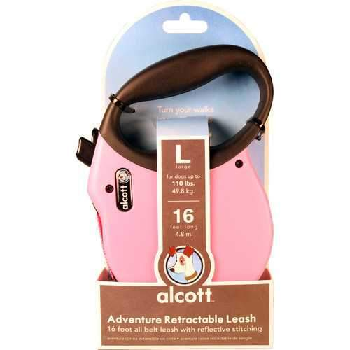 Paws/Alcott Pink Retractable Leash Up To 110 Pounds Large/16 Ft-Leashes & Head Collars-Bella's PetStor