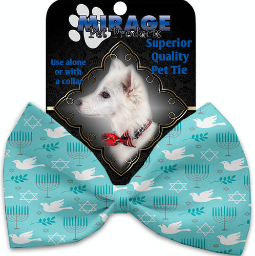 Peace And Hanukkah Pet Bow Tie Collar Accessory With Velcro-Bow Ties-Bella's PetStor