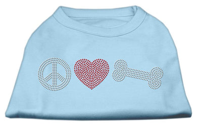 Peace Love And Bone Rhinestone Shirt Baby Blue-Dog Clothing-Bella's PetStor