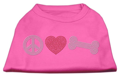 Peace Love And Bone Rhinestone Shirt Bright Pink-Dog Clothing-Bella's PetStor