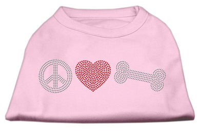 Peace Love And Bone Rhinestone Shirt Light Pink-Dog Clothing-Bella's PetStor