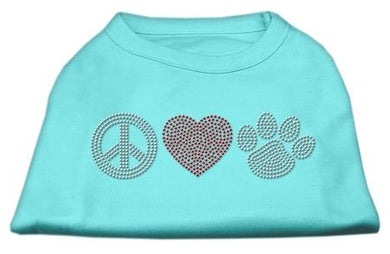 Peace Love And Paw Rhinestone Shirt Aqua-Dog Clothing-Bella's PetStor