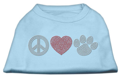 Peace Love And Paw Rhinestone Shirt Baby Blue-Dog Clothing-Bella's PetStor