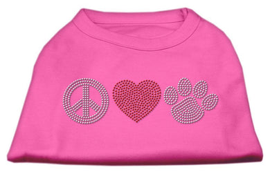 Peace Love And Paw Rhinestone Shirt Bright Pink-Dog Clothing-Bella's PetStor