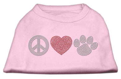 Peace Love And Paw Rhinestone Shirt Light Pink-Dog Clothing-Bella's PetStor