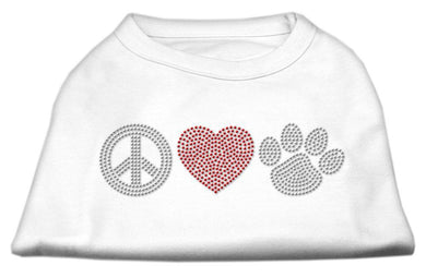 Peace Love And Paw Rhinestone Shirt White-Dog Clothing-Bella's PetStor