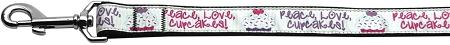 Peace Love Cupcakes Nylon Dog Leash Inch Wide Long-Dog Collars-Bella's PetStor