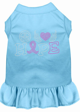 Peace Love Hope Breast Cancer Rhinestone Pet Dress Baby Blue-Dog Clothing-Bella's PetStor