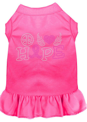 Peace Love Hope Breast Cancer Rhinestone Pet Dress Bright Pink-Dog Clothing-Bella's PetStor