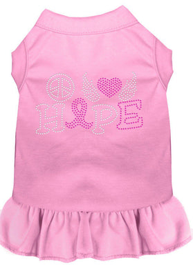 Peace Love Hope Breast Cancer Rhinestone Pet Dress Light Pink-Dog Clothing-Bella's PetStor