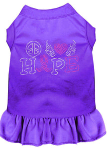 Peace Love Hope Breast Cancer Rhinestone Pet Dress Purple-Dog Clothing-Bella's PetStor