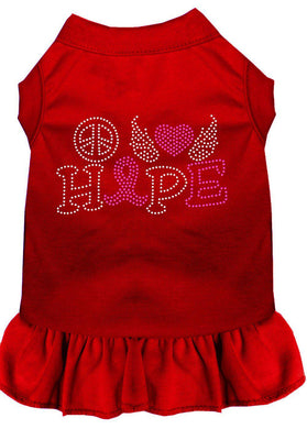 Peace Love Hope Breast Cancer Rhinestone Pet Dress Red-Dog Clothing-Bella's PetStor