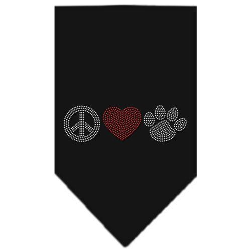 Peace Love Paw Rhinestone Bandana-Dog Clothing-Bella's PetStor