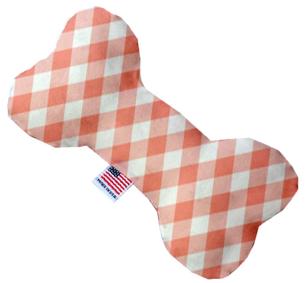 Peach Plaid Inch Canvas Bone Dog Toy-Made in the USA-Bella's PetStor