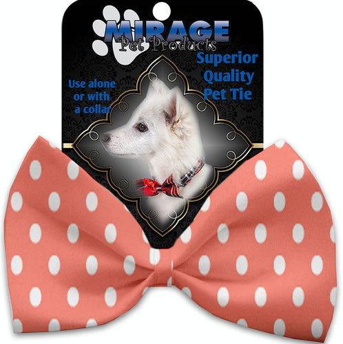 Peach Polka Dots Pet Bow Tie Collar Accessory With Velcro-Bow Ties-Bella's PetStor