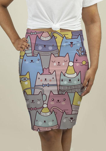 Pencil Skirt with Cats at Christmas-Skirts-Bella's PetStor