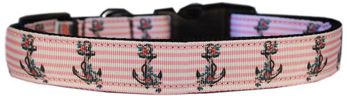 Pink Anchors Nylon Cat Safety Collar-Dog Collars-Bella's PetStor