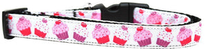 Pink And Purple Cupcakes Nylon Ribbon Dog Collar-Dog Collars-Bella's PetStor