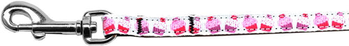Pink And Purple Cupcakes Nylon Ribbon Pet Leash Inch Wide Lsh-Dog Collars-Bella's PetStor
