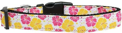 Pink And Yellow Hibiscus Flower Nylon Cat Collar-DOGS-Bella's PetStor