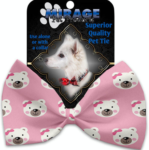 Pink Bears And Bows Pet Bow Tie Collar Accessory With Velcro-Bow Ties-Bella's PetStor