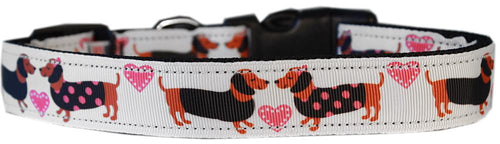 Pink Doxie Love Nylon Cat Safety Collar-Dog Collars-Bella's PetStor