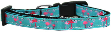 Pink Flamingos Nylon Ribbon Cat Safety Collar-Dog Collars-Bella's PetStor