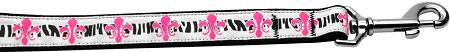 Pink Fleur De Lis Nylon Dog Leash Inch Wide Long-Dog Collars-Bella's PetStor
