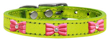 Load image into Gallery viewer, Pink Glitter Bow Widget Genuine Metallic Leather Dog Collar-New!-Bella's PetStor