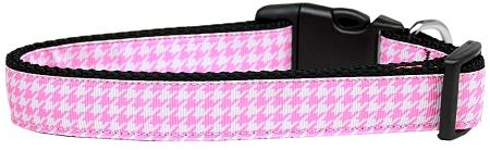 Pink Houndstooth Nylon Collar-DOGS-Bella's PetStor