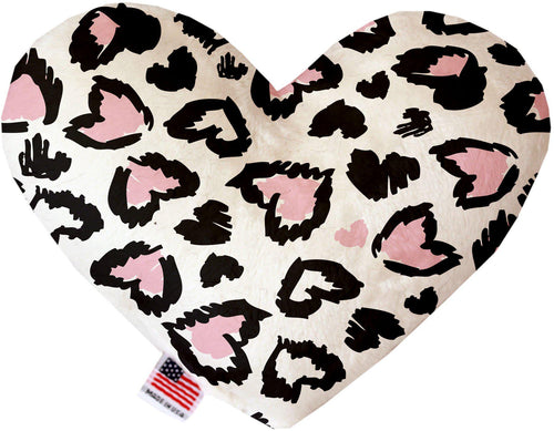 Pink Leopard Hearts Stuffing Free Inch Heart Dog Toy-Valentines-Bella's PetStor