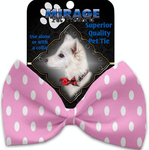 Pink Polka Dots Pet Bow Tie Collar Accessory With Velcro-Bow Ties-Bella's PetStor