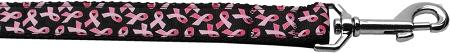 Pink Ribbons On Black Nylon Dog Leash Inch Wide Long-DOGS-Bella's PetStor