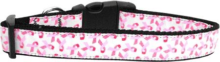 Pink Ribbons On White Nylon Cat Collar-Dog Collars-Bella's PetStor