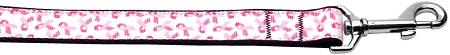 Pink Ribbons On White Nylon Dog Leash Inch Wide Long-Dog Collars-Bella's PetStor