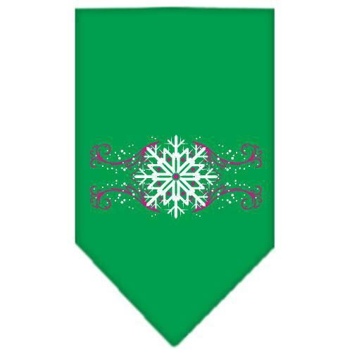 Pink Snowflake Swirls Screen Print Bandana Emerald Green Large-pink snowflake swirls screen print bandana holiday pet products-Bella's PetStor