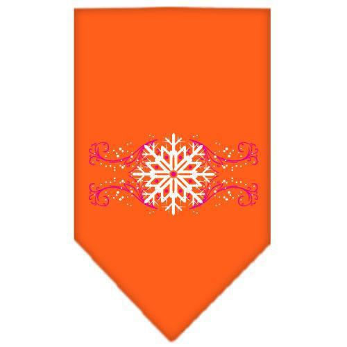 Pink Snowflake Swirls Screen Print Bandana Orange Large-pink snowflake swirls screen print bandana holiday pet products-Bella's PetStor