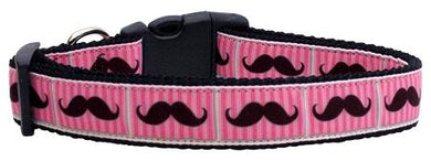 Pink Striped Moustache Nylon Cat Collar-Dog Collars-Bella's PetStor