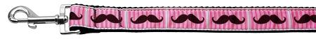 Pink Striped Moustache Nylon Dog Leash Inch Wide Long-Dog Collars-Bella's PetStor