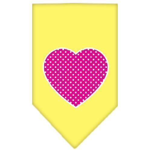 Pink Swiss Dot Heart Screen Print Bandana-Dog Clothing-Bella's PetStor